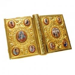 Custodia Lezionario in metallo dorato con immagini 25x34 cm
