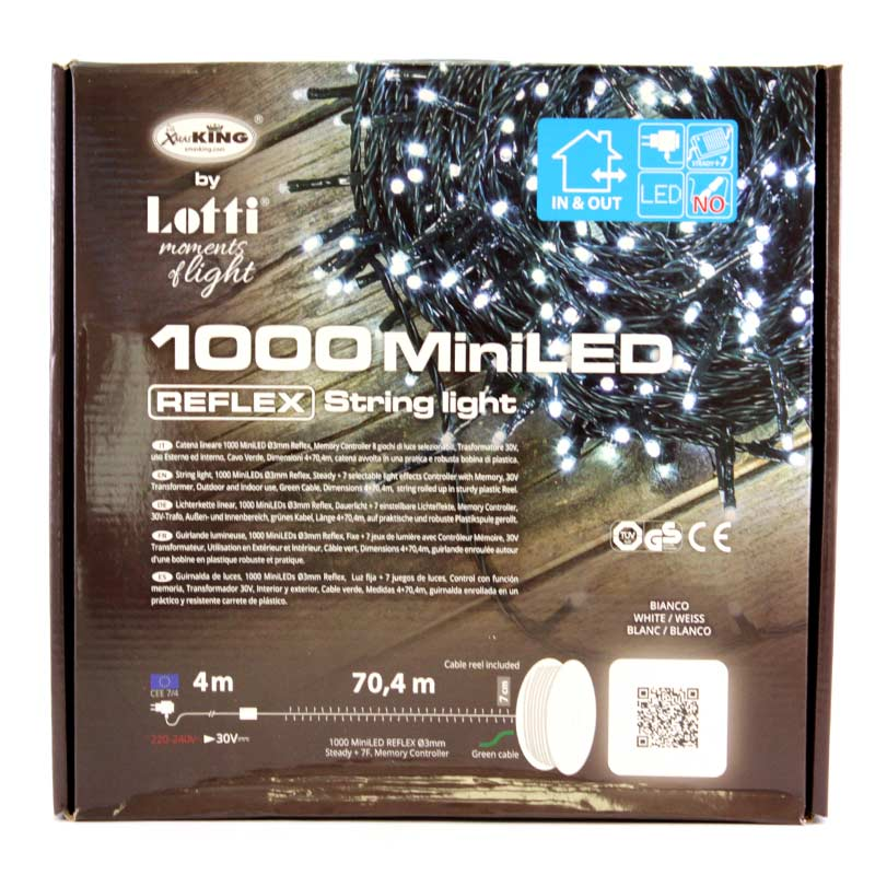 String 1000 small white led 3 mm green wire 4+70 4 m