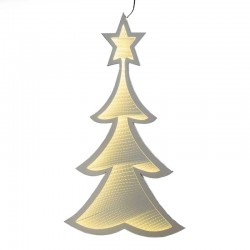 Albero di Natale bifacciale led bianco caldo 48x80 cm