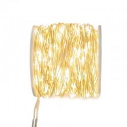 Catena 500 micro led bianco caldo 1,5 mm cavo trasparente 25 m
