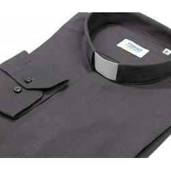 Camicia clergy Grigio scuro fil à fil Manica lunga