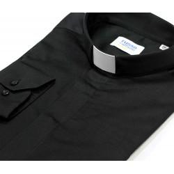 Camicia clergy Nera cotone twill Manica lunga