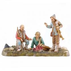 Scena Bivacco con tre pastori e fuoco Moranduzzo 10 cm