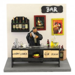 Moving barman in terracotta with clothes 12 cm
