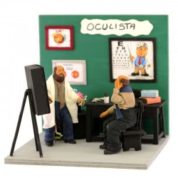 Moving ophthalmologist in terracotta with clothes 12 cm