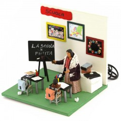 Moving teacher in terracotta with clothes 12 cm