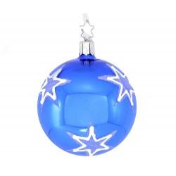 Addobbo sfera blu con stelle Diametro 8 cm Inge-Glas
