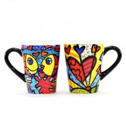 Coppia 2 tazze in ceramica 11,5 cm Romero Britto 331351