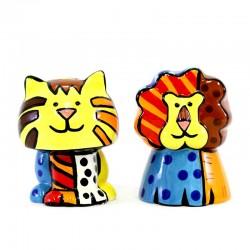 Salt and Pepper shakers Lion Tiger ceramic 9 cm Romero Britto 331318