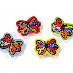 Set of 4 butterfly tea bag rests 10 cm Romero Britto 333206
