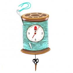 Bobbin of Thread and Scissors Clock 20x30 cm Allen Designs