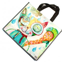 Plastified Shopping Bag with Cat 40x46x18 cm