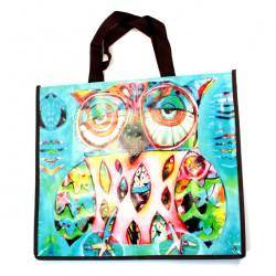 Plastified Shopping Bag with Owl 40x46x18 cm