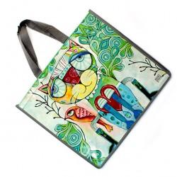 Plastified Shopping Bag with Kitten 40x46x18 cm