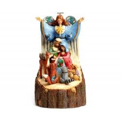 Tronco con Natività e animali 25 cm Jim Shore 4044515