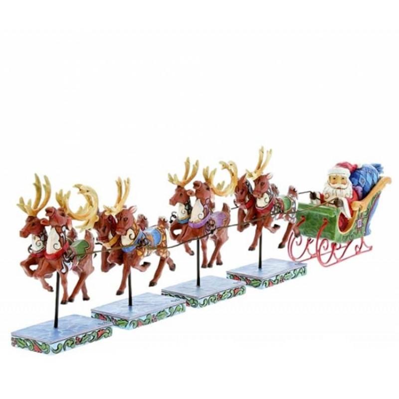 Renne Babbo Natale.Babbo Natale Su Slitta Con Renne 12 Cm Jim Shore 4055048