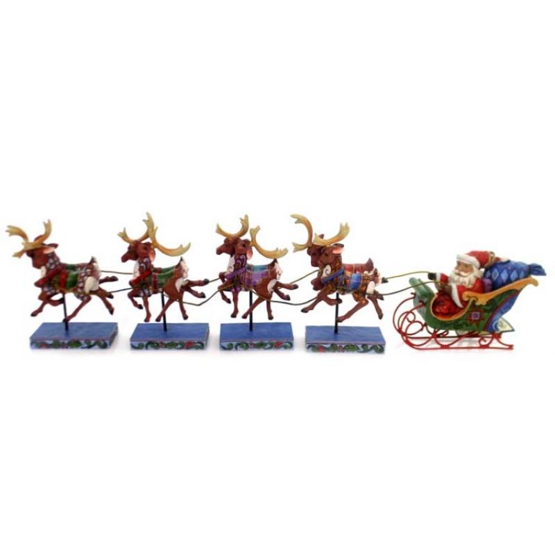 Babbo Natale Con Le Renne.Babbo Natale Su Slitta Con Renne 12 Cm Jim Shore 4055048