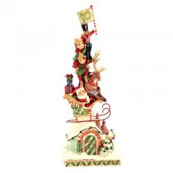 Babbo Natale luminoso con renna e folletti 36 cm Jim Shore 4060310
