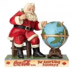 Babbo Natale Coca Cola con mappamondo 16 cm Jim Shore 6000998
