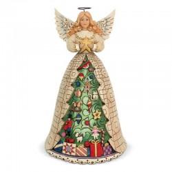 Angelo Bianco con albero di Natale 24 cm Jim Shore 6002734