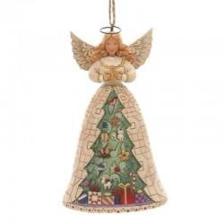 Angelo Bianco con albero di Natale 11 cm Jim Shore 6002739