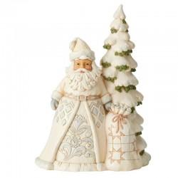 Babbo Natale bianco con albero 27 cm Jim Shore 6004168