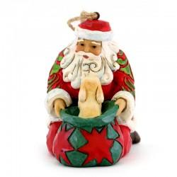 Babbo Natale con cane da appendere 9 cm Jim Shore 6003358