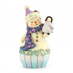 Pupazzo di neve con pinguino da appendere 12 cm Jim Shore 6004314