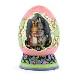 Uovo di Pasqua con conigli 10 cm Jim Shore 6003997