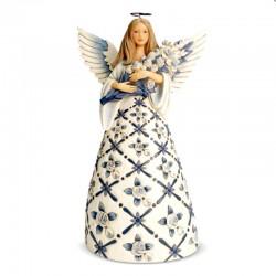 Light blue Angel with roses 24 cm Jim Shore 6007125