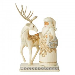 White Santa Claus with reindeer 25,5 cm Jim Shore 6006615