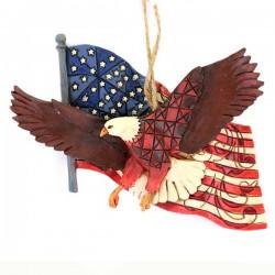 Aquila con bandiera americana 11x9 cm Jim Shore 4027753