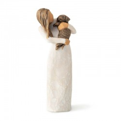 Figurine of adorable girl with dark dog 19 cm Willow Tree 28040
