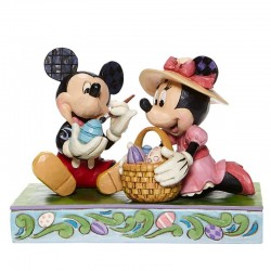 Mickey and Minnie with egg basket 11,5 cm Disney Traditions 6008319
