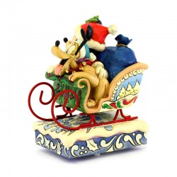 Mickey and Pluto in sleigh with music box 17 cm Disney Traditions 4052003