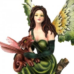 Fairy Aphra on trunk with dragon 33 cm Les Alpes
