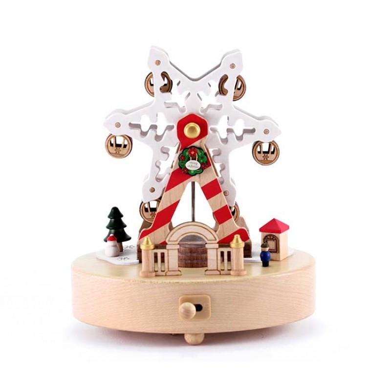 Christmas Ferris Wheel Music Box.Music Box Christmas Ferris Wheel 14x16 Cm Wooderful Life