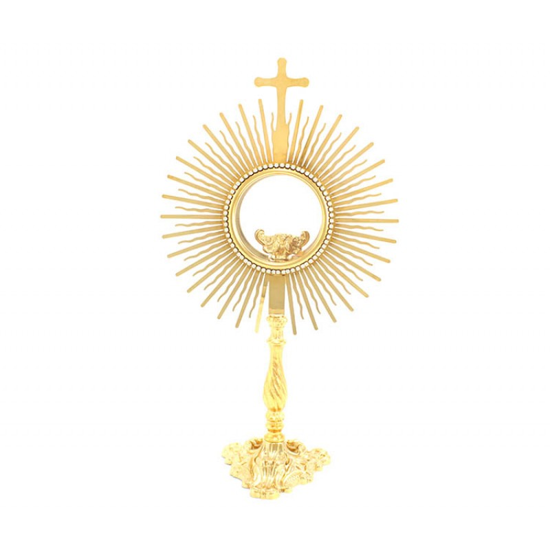 golden metal sun monstrance 39 cm