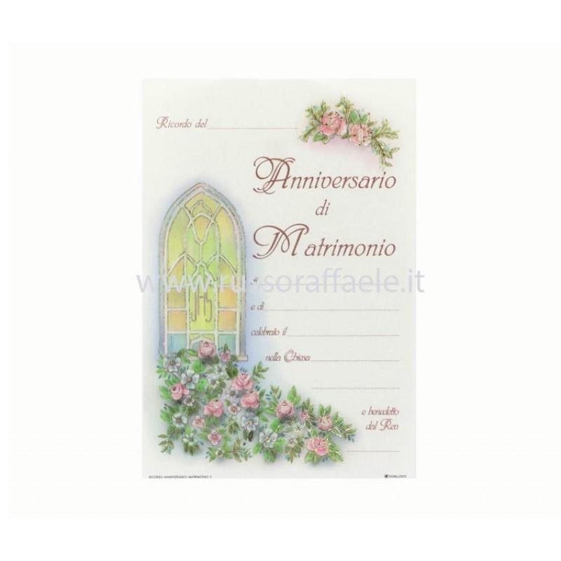 Pergamena Matrimonio Simbolico : Pergamena anniversario nozze vetrata oro a caldo cm