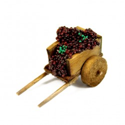 Wooden Cart for Nativity with Grapes 2x4.5x2.5 cm