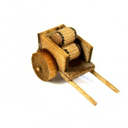 Wooden Cart for Nativity with Barrels 2x4.5x2.5 cm