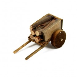 Wooden Cart for Nativity with wood 2x4.5x2.5 cm