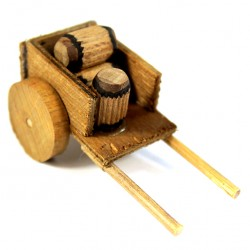 Wooden Cart for Nativity with Barrels 3x6.5x3.5 cm
