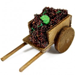 Wooden Cart for Nativity with Grapes 3.5x6.5x3.5 cm