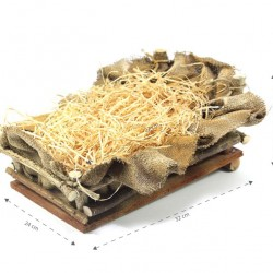 Wooden Cradle with Sack and Hay 24x15x32 cm