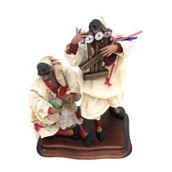 Terracotta and Clothing Pulcinella 2 figures scene 27 cm
