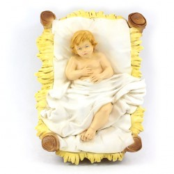 Silicone Resin Baby Jesus with Cradle for Nativity 40 cm