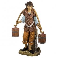Resin Shepherd with Buckets 125 cm Fontanini