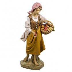 Resin Shepherdess with Hand-basket 125 cm Fontanini