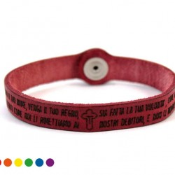 Lord's Prayer Leather Bracelet with Button